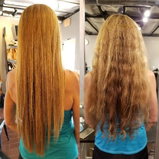 Brazilian Blowout on long wavy strawberry blonde hair Before and After at Vincent Michael Salon in San Juan Capistrano, CA