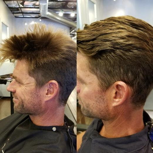 Brazilian Blowout on man's hair Before and After at Vincent Michael Salon in San Juan Capistrano, CA