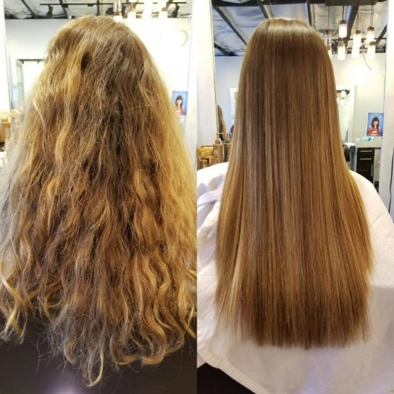 Brazilian Blowout on long wavy blonde hair Before and After at Vincent Michael Salon in San Juan Capistrano, CA